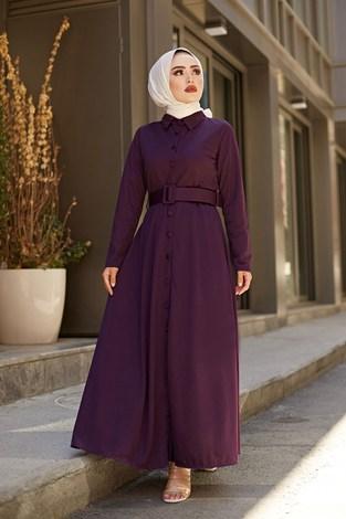 - MDI Boydan Düğmeli Kemerli Elbise 7123-8 Mor