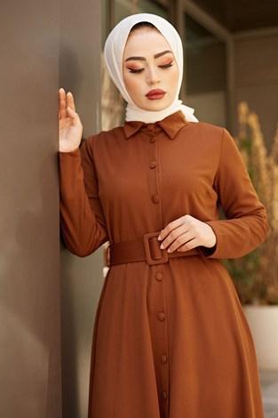 - MDI Boydan Düğmeli Kemerli Elbise 7123-3
