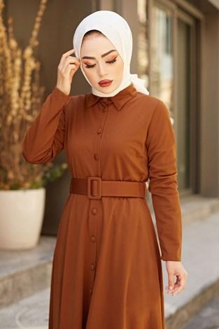 - MDI Boydan Düğmeli Kemerli Elbise 7123-3 (1)