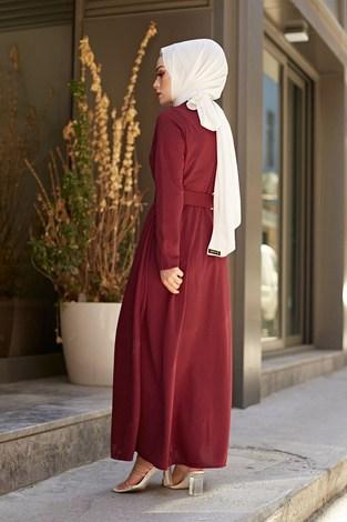 MDI Boydan Düğmeli Kemerli Elbise 7123-2 - Thumbnail