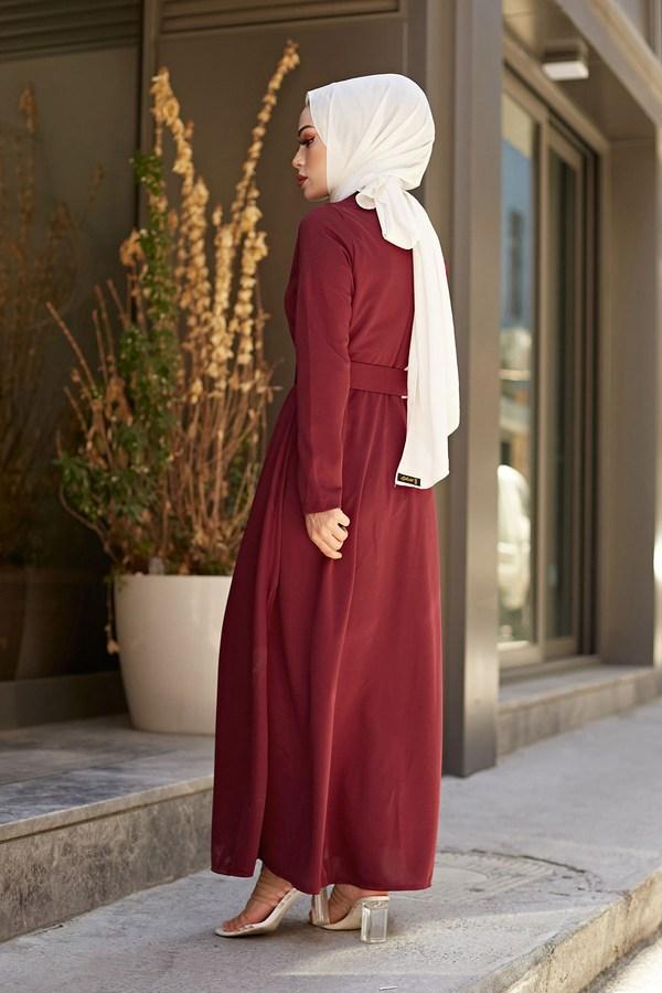 MDI Boydan Düğmeli Kemerli Elbise 7123-2