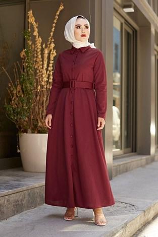 - MDI Boydan Düğmeli Kemerli Elbise 7123-2