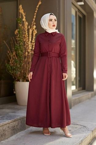 - MDI Boydan Düğmeli Kemerli Elbise 7123-2 (1)