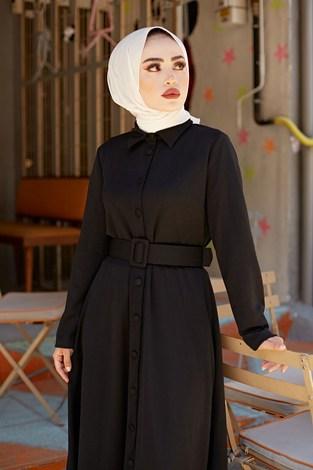 - MDI Boydan Düğmeli Kemerli Elbise 7123-1 (1)