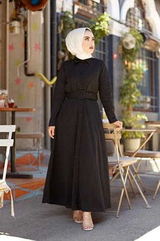 - MDI Boydan Düğmeli Kemerli Elbise 7123-1