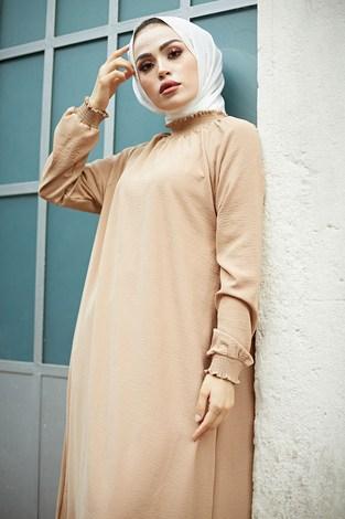 - MDI Büzgülü Ferace Elbise 1004-1 Camel (1)