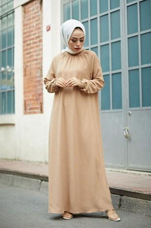 - MDI Büzgülü Ferace Elbise 1004-1 Camel