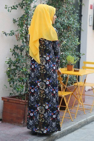 MDI Büzgülü Ferace Elbise 1004-125 - Thumbnail
