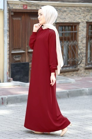 MDI Büzgülü Ferace Elbise 1004-145 - Thumbnail