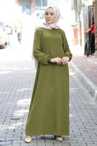 MDI Büzgülü Ferace Elbise 1104-147 - Thumbnail