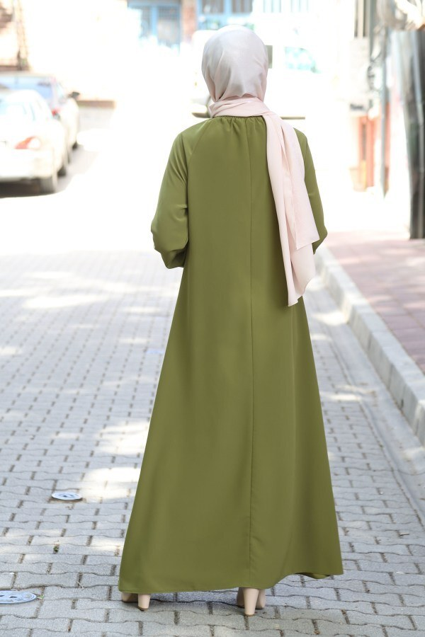 MDI Büzgülü Ferace Elbise 1104-147