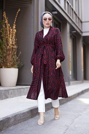 - MDI Desenli Kimono 8889-12 Bordo