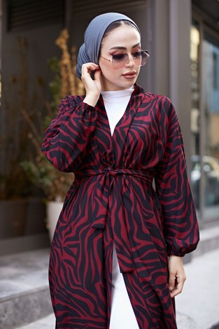 - MDI Desenli Kimono 8889-12 Bordo (1)