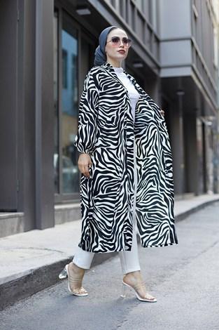- MDI Desenli Kimono 8889-8 Beyaz