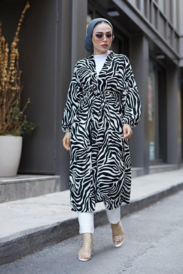 MDI Desenli Kimono 8889-8 Beyaz