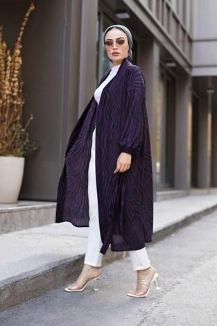 MDI Desenli Kimono 8889-9 Mor - Thumbnail