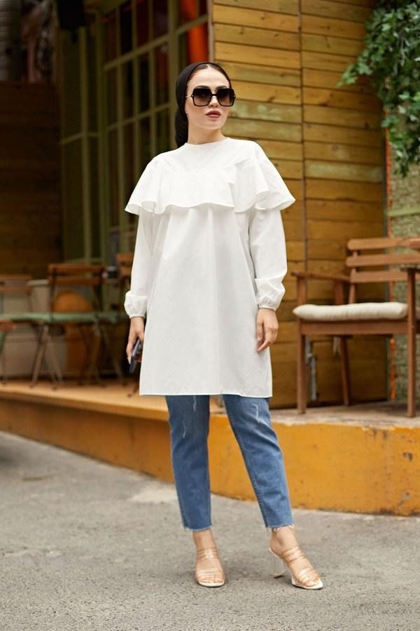 MDI Elizabeth Tunik 7687-2 İnci Beyazı