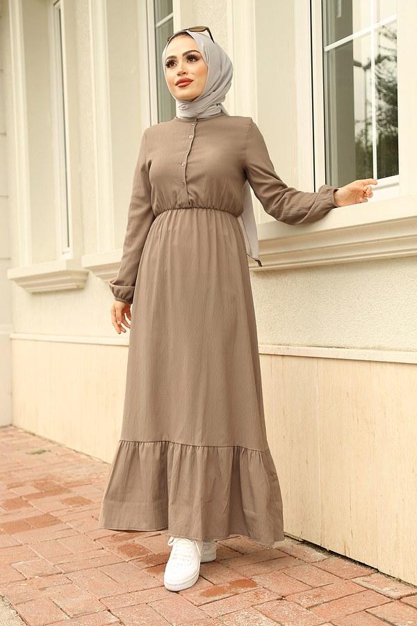 MDI Eteği Fırfırlı Elbise 1278-2 Bej