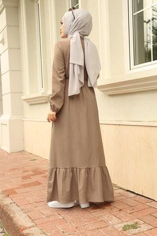 MDI Eteği Fırfırlı Elbise 1278-2 Bej - Thumbnail