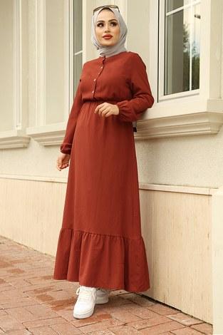 MDI Eteği Fırfırlı Elbise 1278-9 Kiremit - Thumbnail