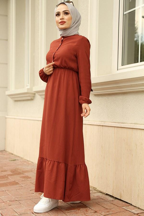 MDI Eteği Fırfırlı Elbise 1278-9 Kiremit
