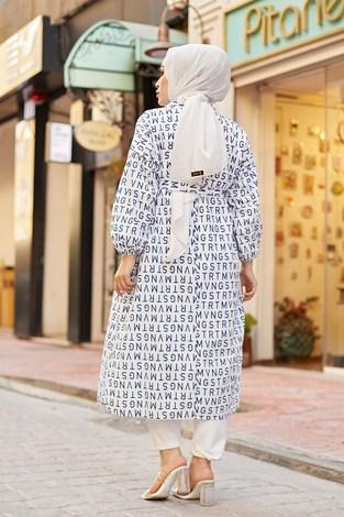 MDI Harfli Kimono 8946-10 Beyaz - Thumbnail