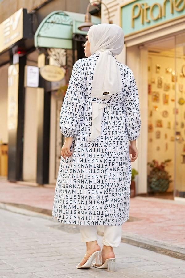MDI Harfli Kimono 8946-10 Beyaz