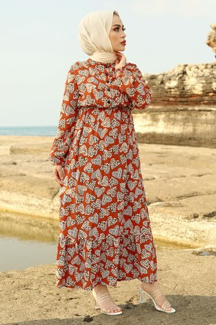 MDI Kalp Desenli Elbise 98231-6 Kiremit - Thumbnail