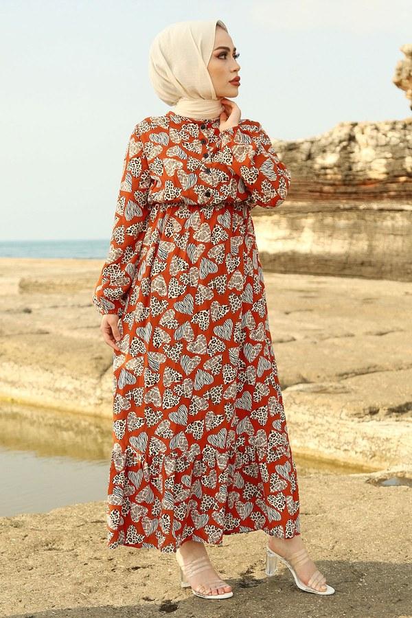 MDI Kalp Desenli Elbise 98231-6 Kiremit
