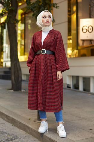 MDI Kemerli Kap Kimono 10025-2 Kırmızı - Thumbnail