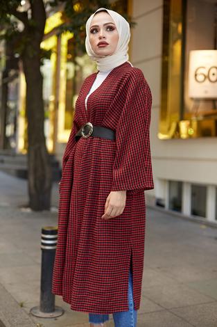 - MDI Kemerli Kap Kimono 10025-2 Kırmızı (1)