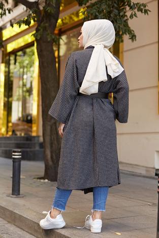 MDI Kemerli Kap Kimono 10025-6 Gri - Thumbnail