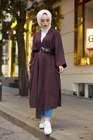 - MDI Kemerli Kap Kimono 10025-7 Mürdüm