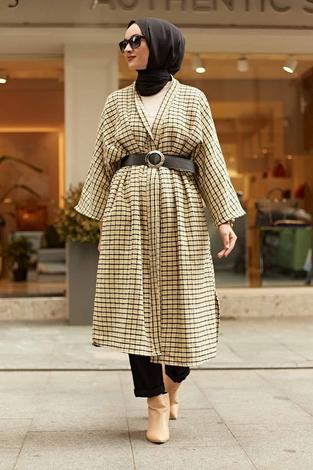 - MDI Kemerli Kap Kimono 10025-9 Sarı