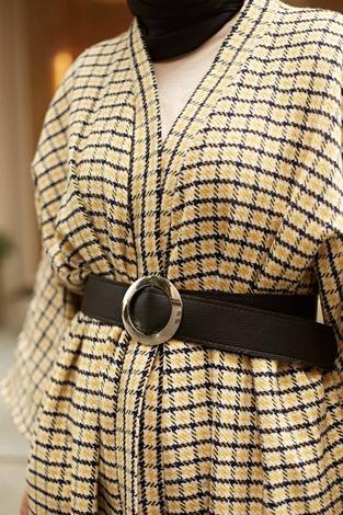 - MDI Kemerli Kap Kimono 10025-9 Sarı (1)
