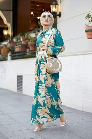 MDI Kravatlı Palmiye Desenli Elbise 9643-2 - Thumbnail