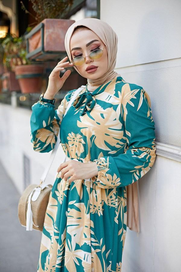 MDI Kravatlı Palmiye Desenli Elbise 9643-2