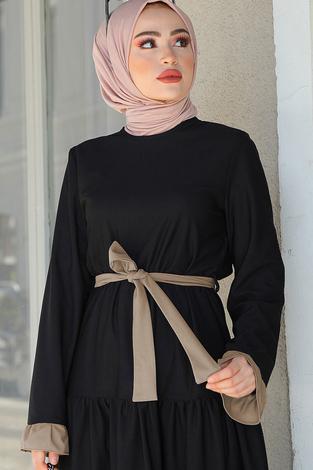 MDI Kuşaklı Fırfır Detaylı Elbise 17648-1 Siyah Bej - Thumbnail