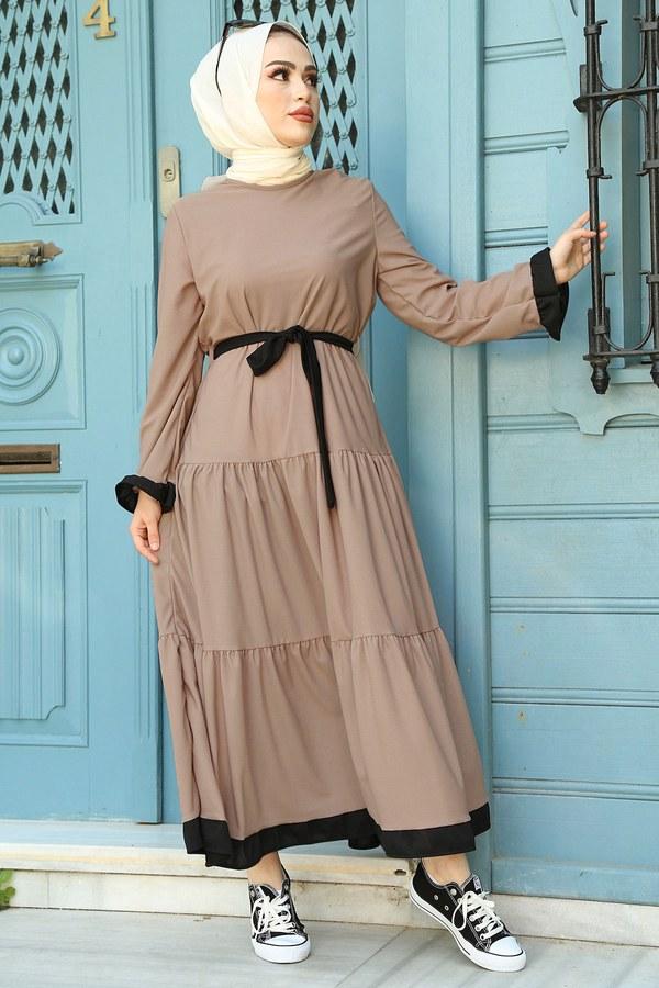 MDI Kuşaklı Fırfır Detaylı Elbise 17648-2 Bej