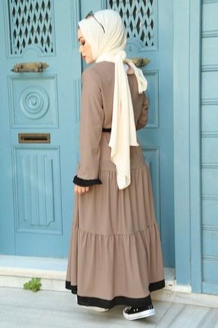 MDI Kuşaklı Fırfır Detaylı Elbise 17648-2 Bej - Thumbnail