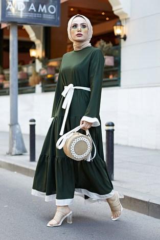 MDI Kuşaklı Fırfır Detaylı Elbise 17648-20 - Thumbnail