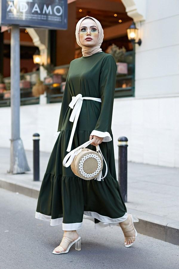 MDI Kuşaklı Fırfır Detaylı Elbise 17648-20