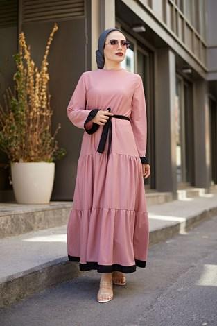 MDI Kuşaklı Fırfır Detaylı Elbise 17648-35 - Thumbnail