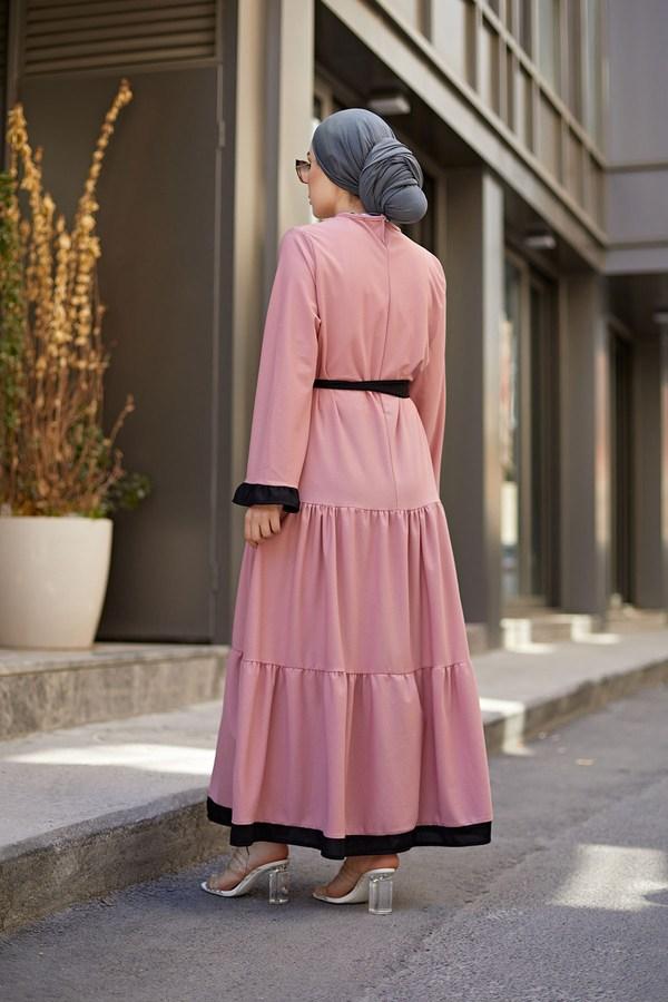MDI Kuşaklı Fırfır Detaylı Elbise 17648-35