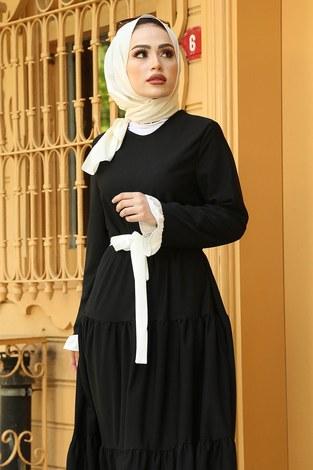 MDI Kuşaklı Fırfır Detaylı Elbise 17648-4 Siyah Beyaz - Thumbnail