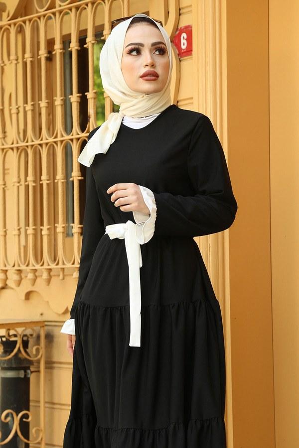 MDI Kuşaklı Fırfır Detaylı Elbise 17648-4 Siyah Beyaz
