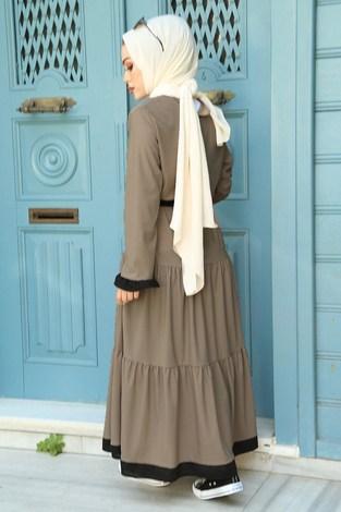 MDI Kuşaklı Fırfır Detaylı Elbise 17648-7 - Thumbnail