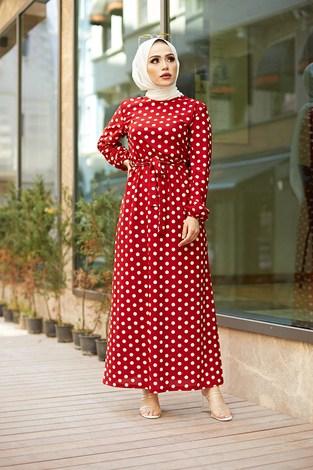 MDI Kuşaklı Puantiyeli Elbise 1353-2 Kırmızı - Thumbnail
