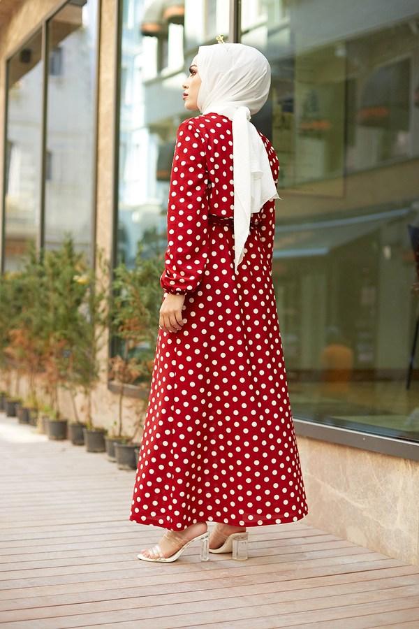 MDI Kuşaklı Puantiyeli Elbise 1353-2 Kırmızı