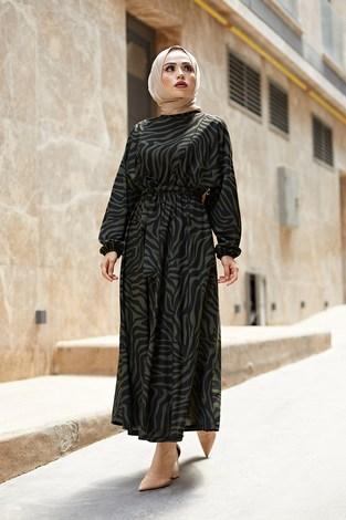 MDI Kuşaklı Yarasa Kol Elbise 17611-3 Haki - Thumbnail